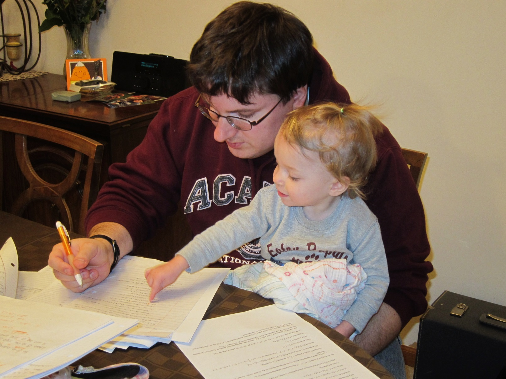 Tim grading, with daughter
