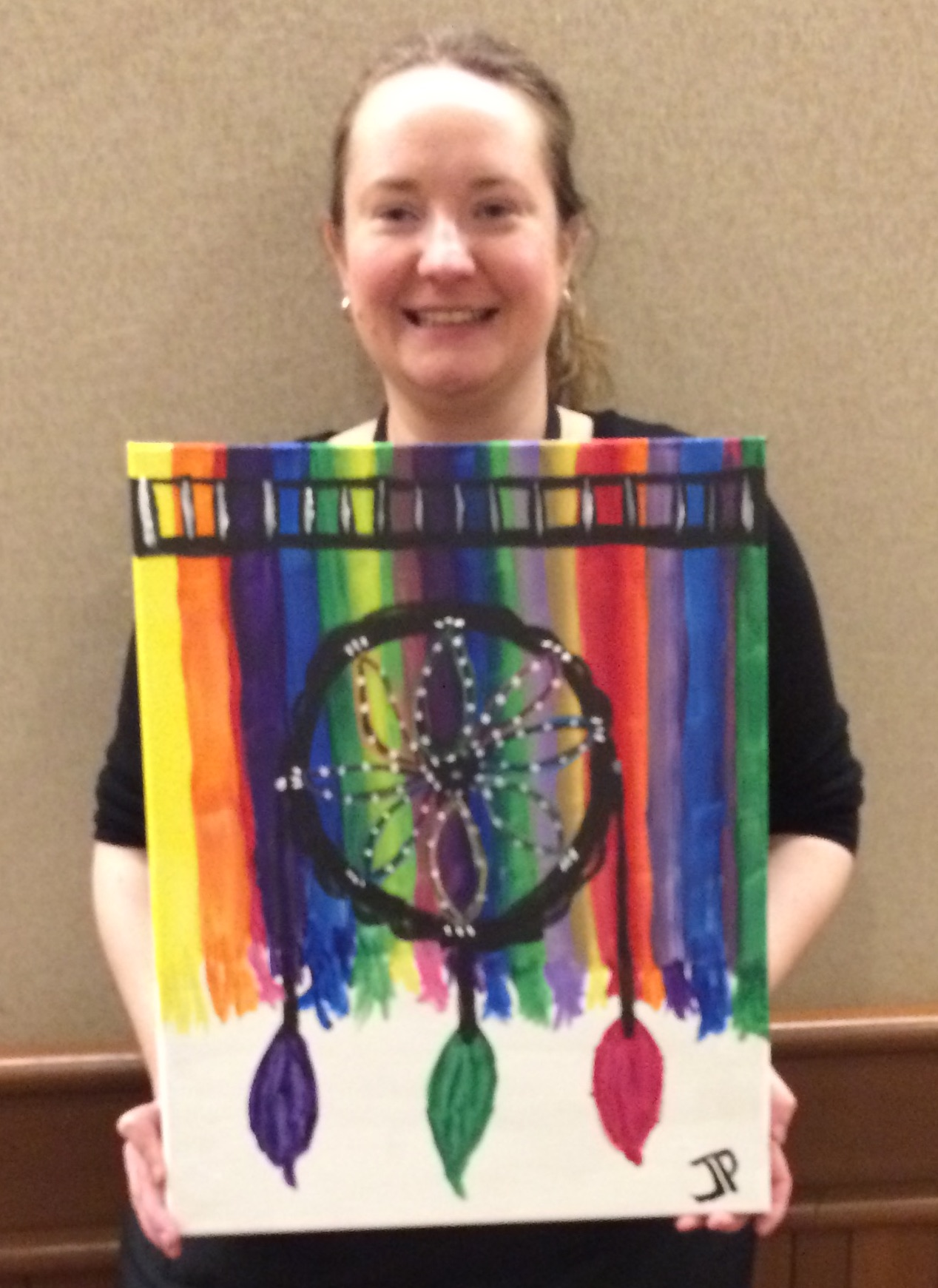 Joanne Philhower and her painting
