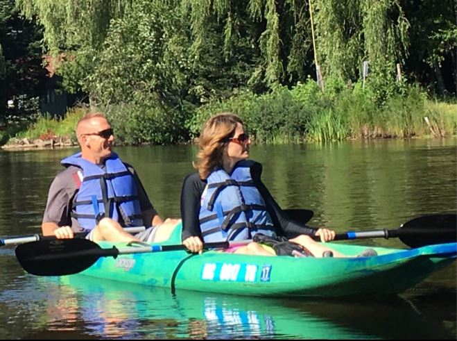 Bill Humes and wife kayaking
