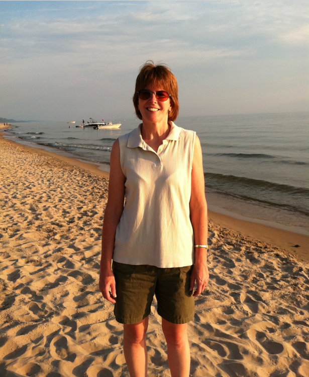 Lisa Keller on beach in Grand Haven. MI