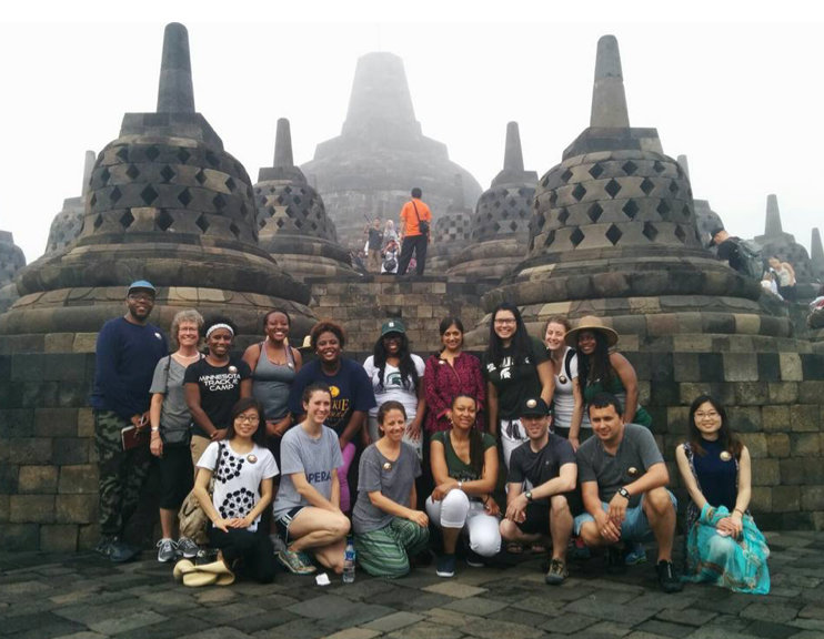 The entire FEGU Indonesia 2016 group in front of Borobudor temple