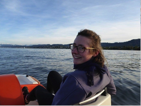 Rileigh in a paddle boat at Zürichsee, Zürich, Switzerland