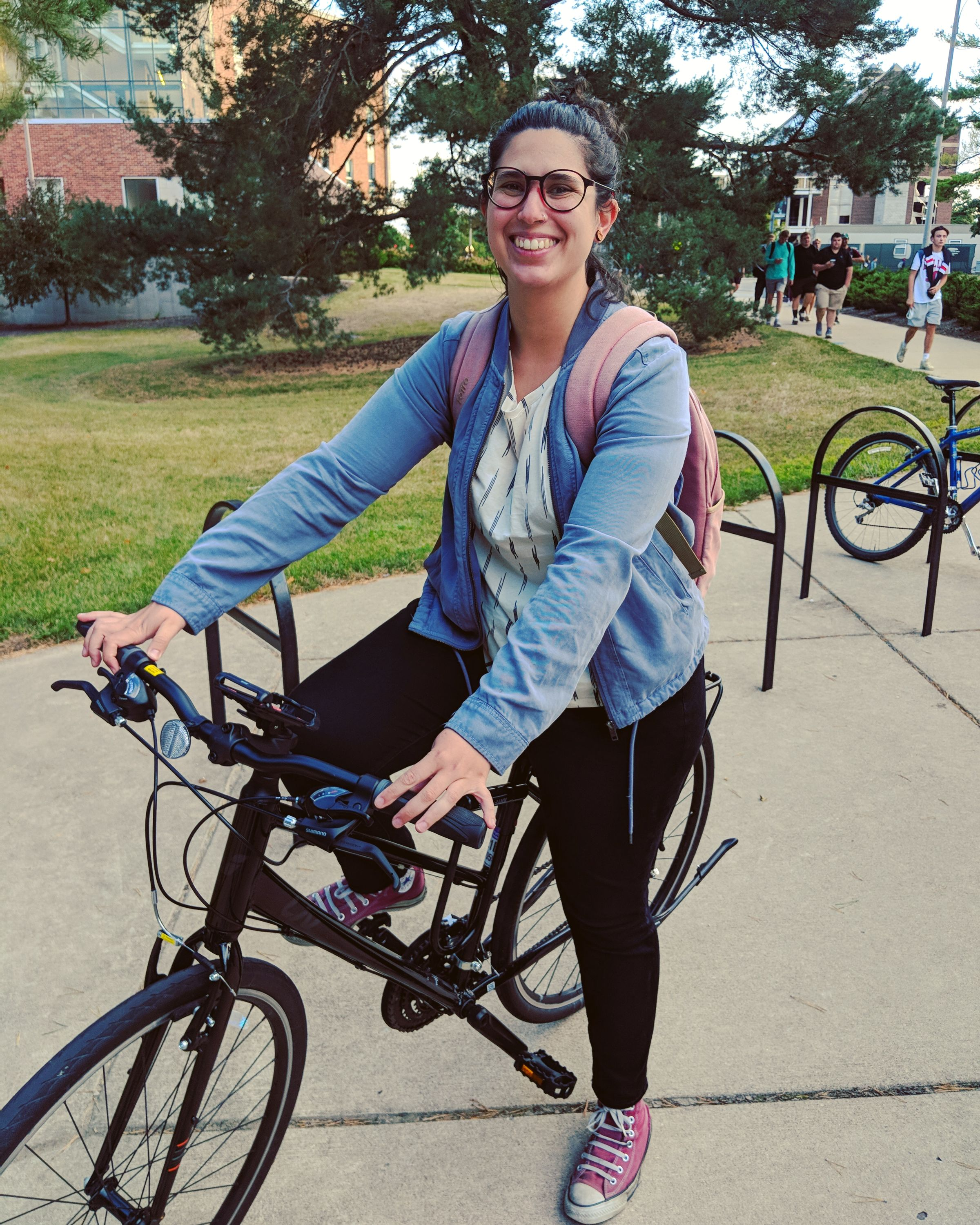 Sofia Abreu on her bike - first day of class for PhD!