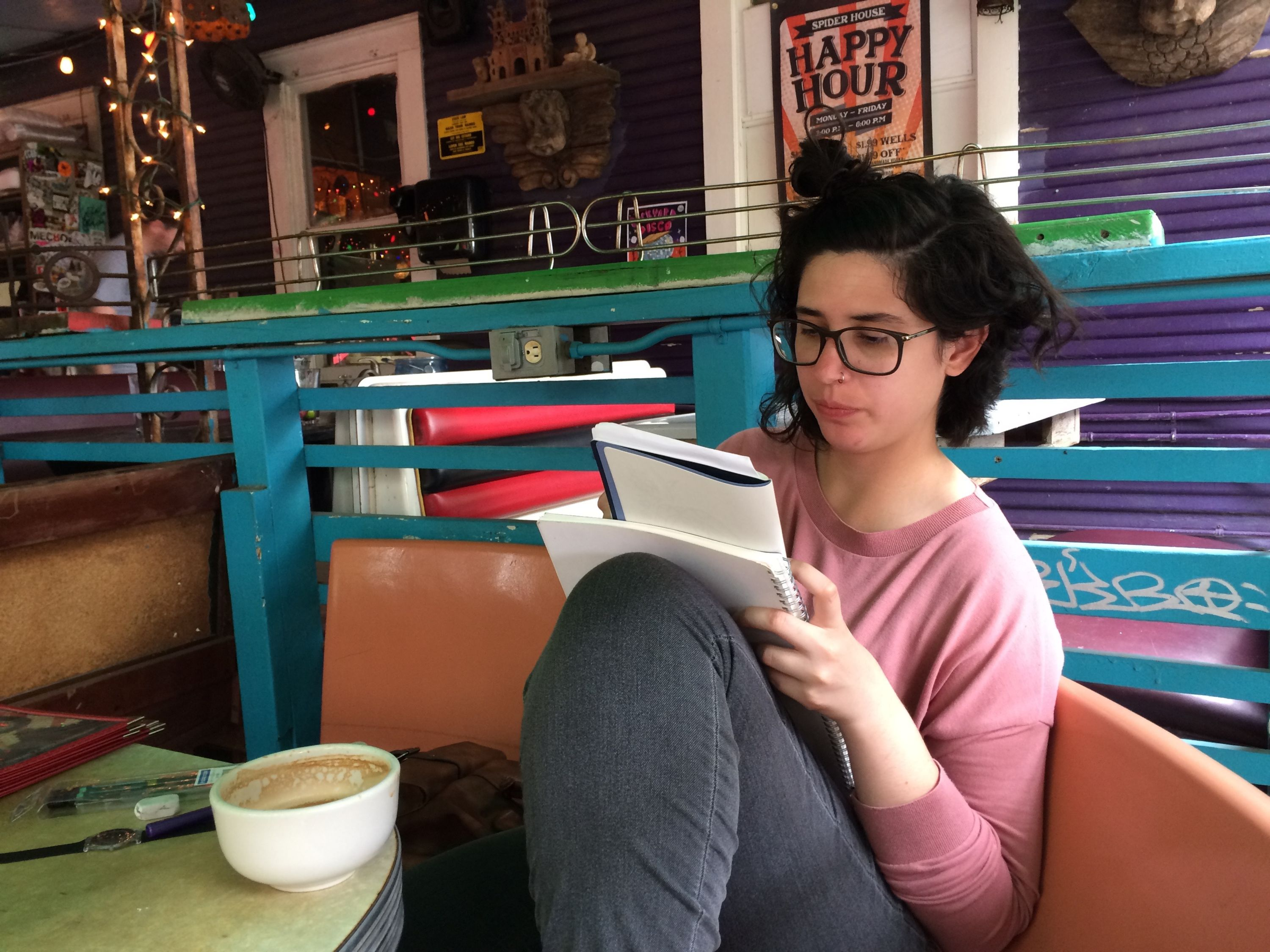 Sofia reading photo, in Austin